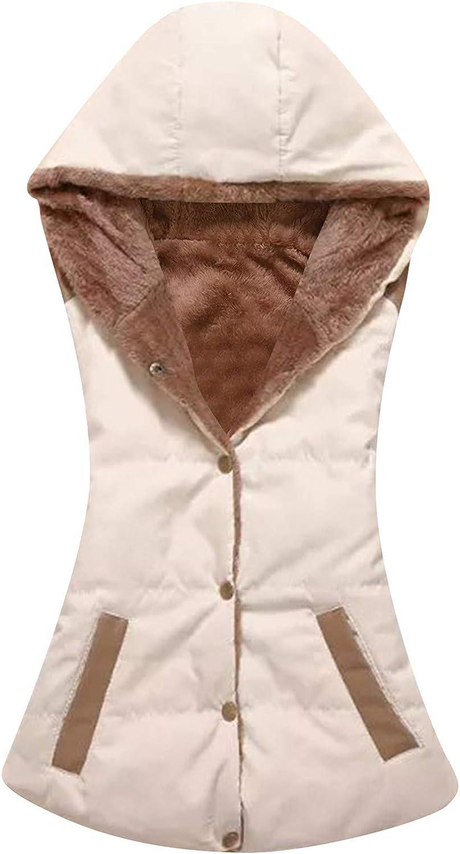 EFOFEI Womens Sleeveless Slim Winter Warm Fur Collar Hooded Vest Coat
