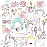 thematys Cumpleaños de niña Unicornio Decoración Cuadro de Fotos - Photo Booth Accesorios - Imágenes Divertidas y memorables - 30 Piezas