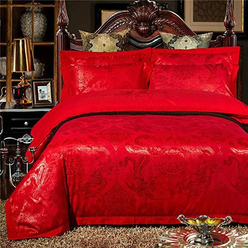 Beddengoedset, 4-delig, jacquard-satijn, beddengoed, draak en Phönix-kruis (rood) 2.0 bed (dekbedovertrek 220 x 240 cm, blad 250 x 270 cm), 4-delig