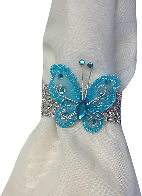 Angel Isabella 10pc Set Turquoise Butterfly Bling Napkin Rings Dia 2