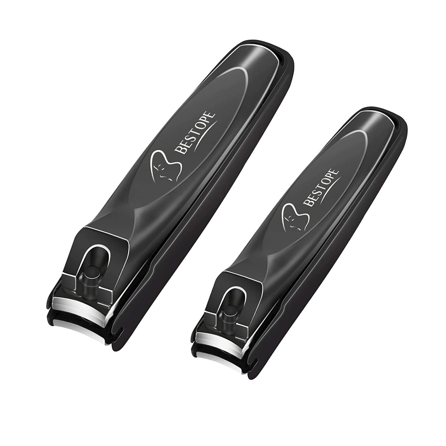 側面極小トロリーBESTOPE 爪切り カバー付き ステンレス鋼製 爪やすり付き 飛び散り防止 手足用 2本セット