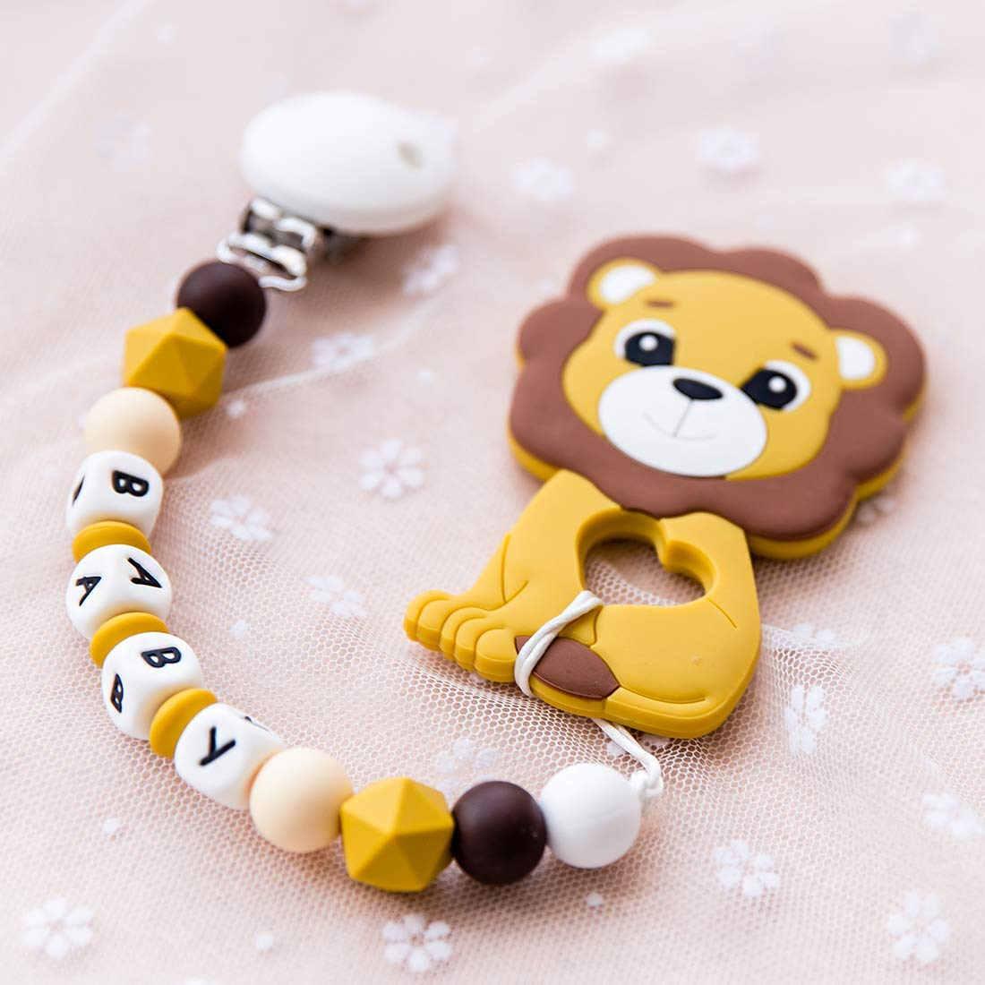 Silicone Pacifier Clip Boy,Cute Loin Animal Teether Toys Silicone Teething Beads,Infant Teething Relief Shower Gift