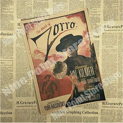 wqmdeshop Cartel Vintage La Leyenda del Zorro Antonio Banderas Catherine Zeta Jones Legend Movie Poster Póster Retro Decoración del Hogar 50X70Cm (N: 3586)