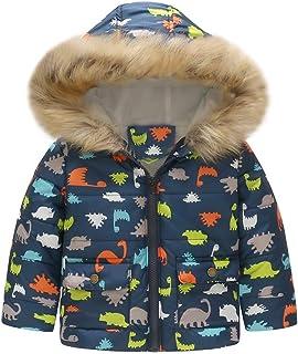 Abrigos Bebe Invierno Chaqueta cálida de Invierno de Dinosaurio para bebés niñas niños Abrigo a Prueba de Viento con Capucha 18 Mes - 6 Años