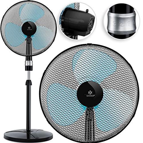 KESSER® - Standventilator 50W Standlüfter - Oszillationsfunktion 80 Grad - Standfuß höhenverstellbar Ventilator 104-122cm - hoher Luftdurchsatz - 3 Geschwindigkeitsstufen - leise, Schwarz