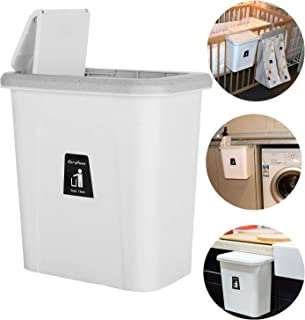 KARYHOME Small Trash Can with Lid for Kitchen Cabinet and Bathroom,Diaper Pail,Hanging Garbage Can for Office and Baby Crib,Lint Holder Bin for Narrow Spaces,White