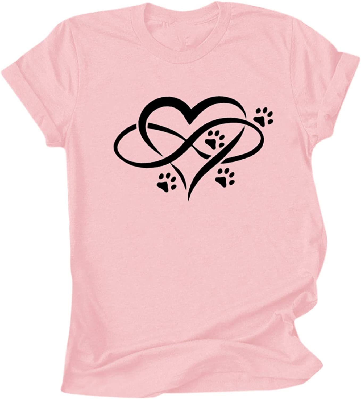 Hotkey T-Shirts for Women O-Neck Short Sleeve Women's Tops Heartbeat Love Heart Printed Tunic Blouse Teen Girls Tees Shirts
