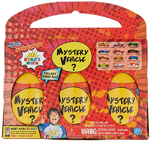 Jada Toys Ryan's World Mystery Egg Vehicles 3 Pack, Multi, (Model: 83553)