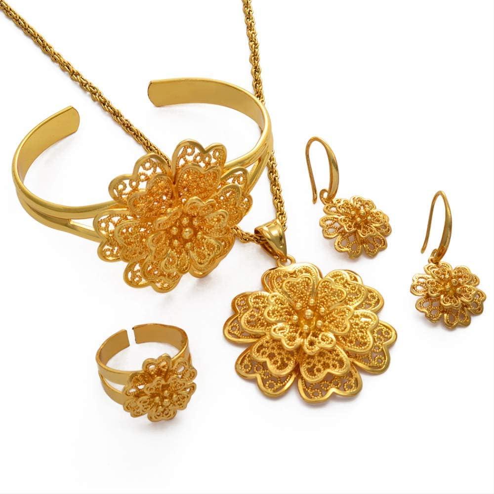Africa Gold Color Flower Jewelry Set Dubai Pendant Necklace Earrings Bracelet Ring Bridal Arab Set Ethiopian Gift 50cm