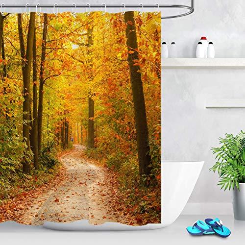 N \ A Duschvorhang, verblasst, Herbstblätter, Pflanzen, Bäume mit grün-gelbem Ahornblatt, Herbstsaison, Woodsy, Duschvorhang, 183 x 183 cm, wasserdichter Polyester-Stoff