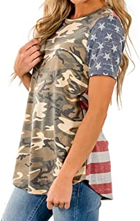 Han Shi Womens Camouflage American Flag Print Blouse Short Sleeve T-Shirt Tops