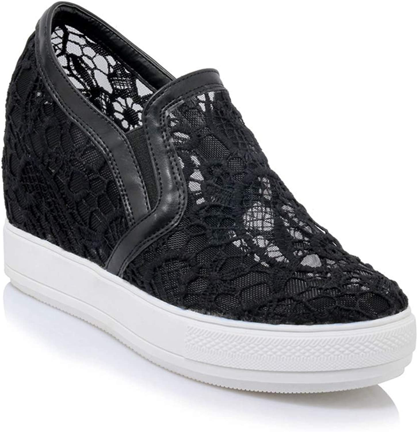 Elsa Wilcox Women Sneakers Platform Increased Height Slip On Casual Sports shoes Fashion Laces Low Top Wedge