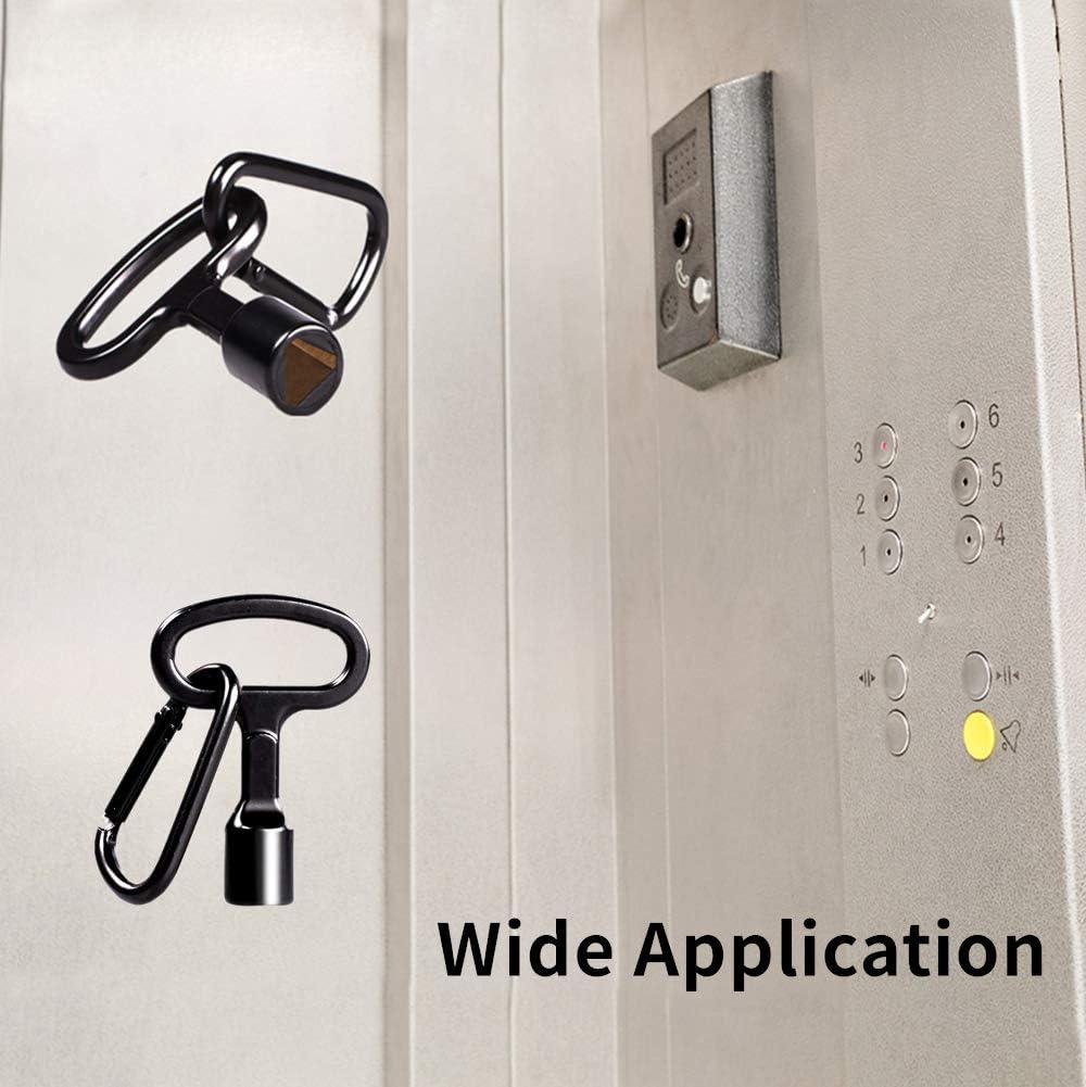 4 Pcs Meter Box Key Gas Box Key Radiator Key and Meter Box Triangle Keys Gas Meter Key with D Type Buckle Metal Triangular Keys Metal Triangle Gas Meter Key Suitable for Cabinet Key Black