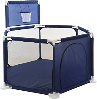 Infant Playpens Safety Household Protective Fence Assembled House Play Yard with Basketball Frame Babies Best Gifts Blue