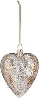 DEMDACO Heart Antique Silver Tone 5 x 4 Kugel Glass Christmas Figurine Ornament