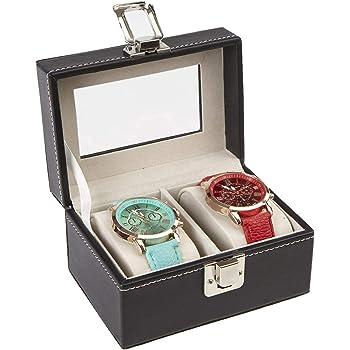 Mind Reader Watch Box Organizer Case, Fits 2 Watches, Mens Jewelry Display Storage, PU Leather, Black - WATCH2C-BLK