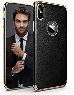 LOHASIC iPhone Xs Case, iPhone X Case, Slim Thin Luxury Leather Soft Back Flexible Non-Slip Shockproof Cases Cover Compatible with iPhone X XS (2018) - Black