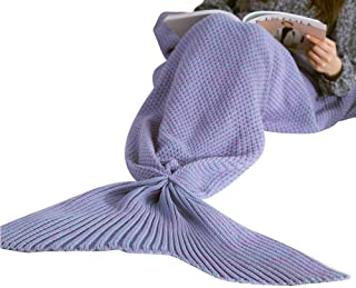 Mermaid Tail Blanket, Super Soft Warm Crochet Mermaid Blanket for Adult Teens Women, All Seasons Sleeping Blankets, Green, Pink, Purple, 70.9in*31.5in