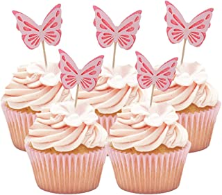 HOKPA Butterfly Glitter Cupcake Cake Toppers, Baby Shower Dessert Food Picks, Kids Birthday Party Toppers Picks Decorations (20PCS Pink)