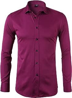 Mens Dress Shirts Bamboo Fiber Slim Fit Long Sleeve Casual Button Down Shirts Wrinkle Free Dress Shirts for Men