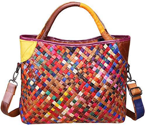 On Clearance Heshe Womens Multi-color Shoulder Bag Hobo Tote Handbag Cross Body Purse (Colorful-2B4038)