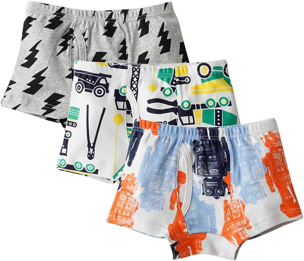 Happy Cherry Little Boys 100% Cotton Underwear Soft Cartoon Boyshort 3 Packs Panties