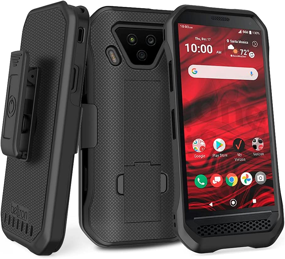 BELTRON DuraForce Ultra 5G UW Case with Clip, Heavy Duty Case with Swivel Belt Clip for Kyocera DuraForce Ultra 5G E7110 (Verizon) Features: Secure Fit & Built-in Kickstand (Black)