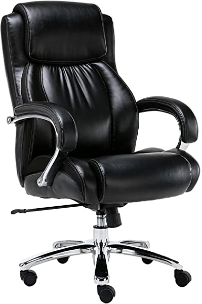 Big And Tall 500 Pounds Body Weight Support Executive Office Chair Heavy Duty Shiny Bonded Leather Swivel And Tilt Chrome Arms With Extra Thick Padding Height Adjustment Black