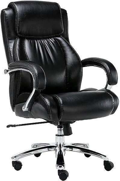大而高 500 镑体重支撑执行办公椅重型闪亮粘合皮革旋转和倾斜铬臂超厚衬垫高度调节黑色
