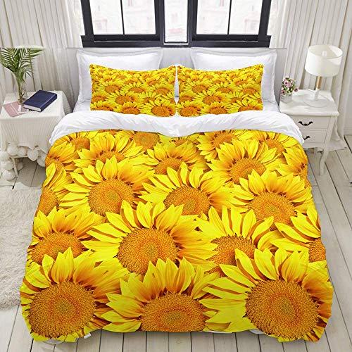 Rorun DuvetCoverSet, Sunflowers, ColourfulDecorative3PieceBeddingSetwith2PillowShams