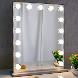 Hollywood Vanity Mirror with Lights,LED Lighted Mirror with 15pcs Dimmable Bulbs,Tabletop or Wall Mounted Dressing Illumin...