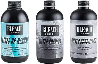 (3 PACK) Bleach London Silver Shampoo x 250ml & Bleach London Silver Conditioner x 250ml & Bleach London Super Cool Colour Washed Up Mermaid 150ml