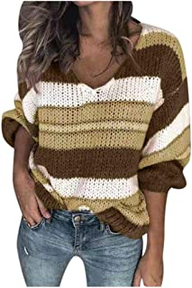 👏 Happylove 👏 Women Long Sleeve Sweaters,Color Block Striped High Neck Ribbed Knit Oversized Pullover Sweaters