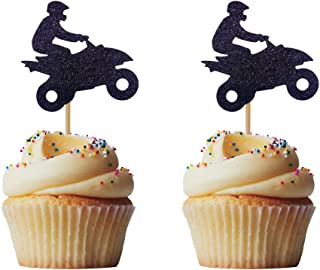 Morndew 24 PCS Glitter motorcycle Rider Cupcake Toppers for Wheels Stag Theme Party Birthday Party Wedding Party Decorations