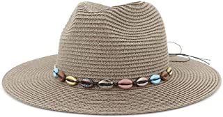 SHENTIANWEI Straw Summer Sun Hat Women Men Fedoras Hat Colorful Shell Retro Fashion Beach Hat Party Lady Panama Straw Hat