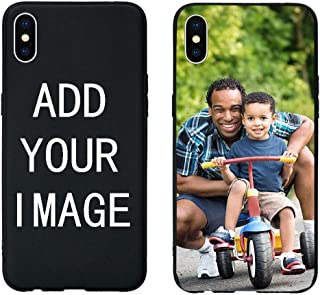 Personalized Customized DIY Soft Silicon Case for iPhone Xs Max XR X 10 8 7 6 6S S Plus 5 5S Back Cover Custom DIY (Black, for iphone7p/8p)