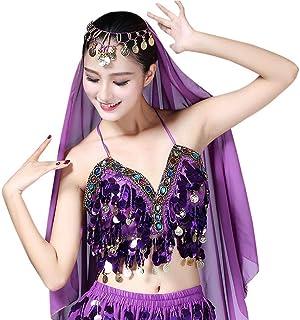 47b0fe5f28ef RUIBUY Belly Dance Reggiseno Bra con Paillettes Frangie Danza Top Costume  del Ventre per Ragazze Donne