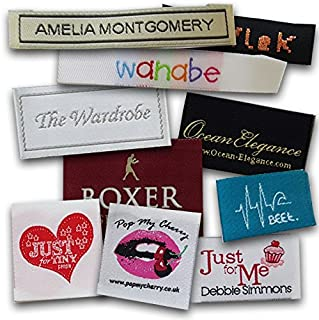 Custom Woven Labels - 100% Woven with Your Logo/Branding. Pre-Cut and Folded (500 Labels, Straight Cut)