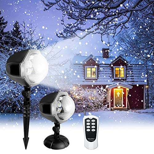 Snowfall LED Projector Light,Christmas Rotating Snowflake Projector Lamp with Remote Control,Snow Effect Spotlight for Garden Ballroom, Party,Halloween,Holiday Landscape Decorative (White)
