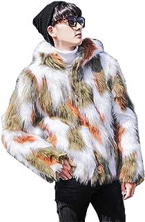 HAPPYJP ファーコート メンズ 毛皮コート メンズ 男 冬 派手 アウター フェイクファー 防寒 ストリート系 ショート丈 暖かい
