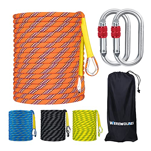 WEREWOLVES Climbing Rope, 32ft/65ft/98ft/165ft/230ft High Strength Outdoor Safety Static Rock Climbing Rope, Escape Rope, Rappelling Rope, Fire Rescue Parachute Rope (Orange 8mm, 32FT(10M))