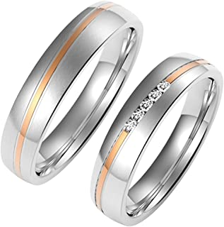 Amtier pair of rings, stainless steel rings for men and women, with gift box