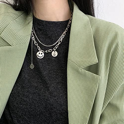 Joyería de Plata Personalizada para Mujer, Collar de Plata con Colgante de Cristal para joyería de Regalo de cumpleaños,Collar de Plata de Ley Mujer, Cadena de suéter Vintage Cadena de clavícula-XL