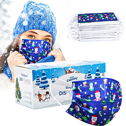 Christmas Disposable Mask Blue for women adult man 50 pcs Christmas Mask Disposable 3 Layer adjustable masks with Nose Clip and Ear Loops Christmas theme Adult blue