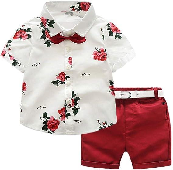 Ropa de Niño Verano Conjunto 4 Piezas 1 Camisa con Rosa + 1 Pantalón Corto Rojo + 1 Pajarita Mona + 1 Cinturón Blanco para Chico de 1-7 Años ...