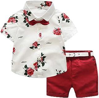 Ropa de Niño Verano Conjunto 4 Piezas 1 Camisa con Rosa + 1 Pantalón Corto Rojo + 1 Pajarita Mona + 1 Cinturón Blanco para...