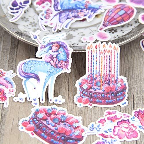 JZLMF Alles Gute zum Geburtstag Kuchen Kerze Einhorn Scrapbooking Aufkleber Kinderspielzeug Notizbuch Etikett dekorative Aufkleber Papier Briefpapier 22Pcs