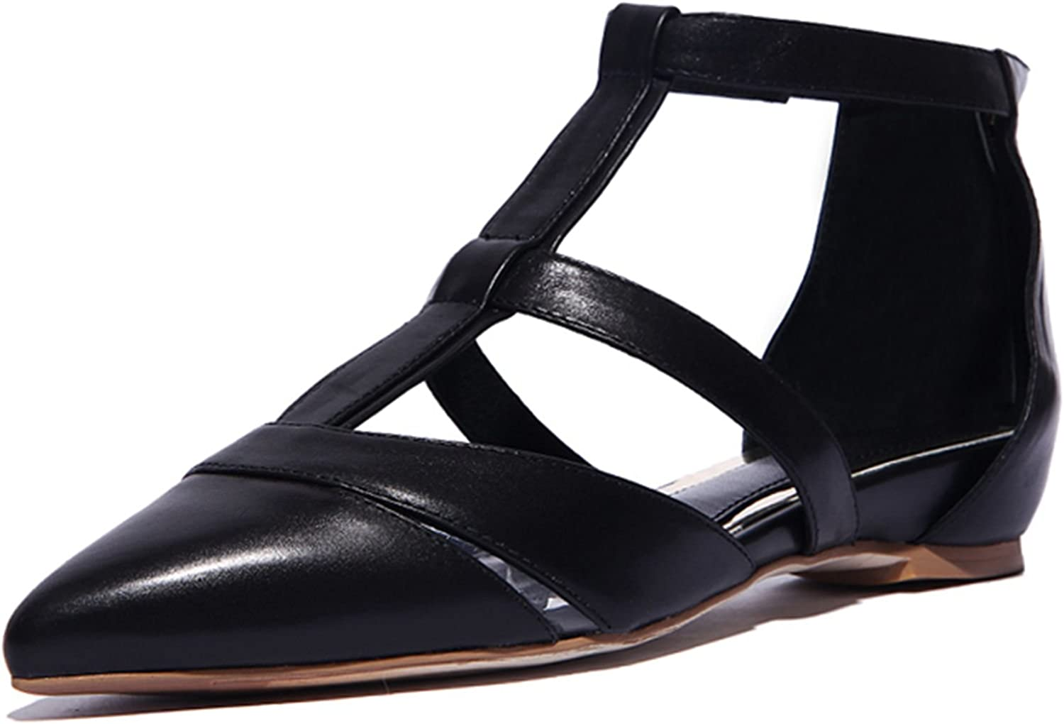 VIMISAOI Women's Comfort Cut-Out Genuine Leather Pointed Toe Flat Sandals