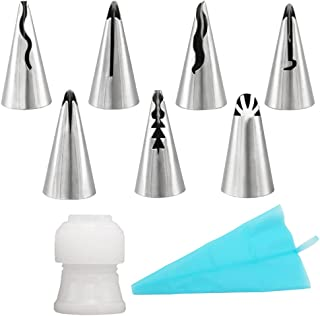 7-Piece Russian Piping Tips with One Coupler and One Silicone Pastry Piping Bag, SOOKOO Stainless Steel Ruffle Piping Nozzles Bobbi Skirt Icing Tips Set Cake Cupcake Decorating Supplies