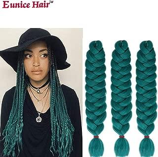 Eunice (6Packs 41 inch) Green Jumbo Braid Ombre Braiding Hair Extensions Afro Box Braids Crochet Hair Synthetic Fiber Braiding Hair 165g/pack (Green)